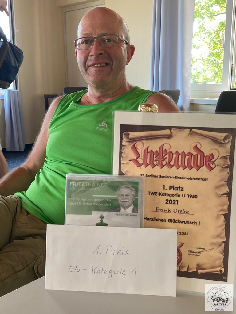 Sieger in der ELO Wertungskategorie u1950 Frank D. vom SV Mattnetz Berlin